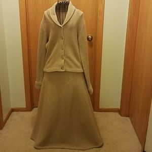 Ralph Lauren taupe lambswool sweater & skirt set